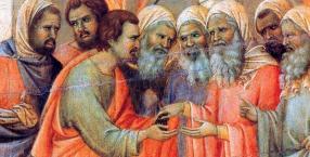 """""""Zdrada Judasza"""", Duccio di Buoninsegna, szczegół z Maesty (nastawa ołtarzowa) z katedry w Sienie, Włochy, 1309-1311 r."""