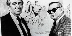 Pisarz Jerry Siegel i rysownik Joe Shuster twórcy postaci Supermana