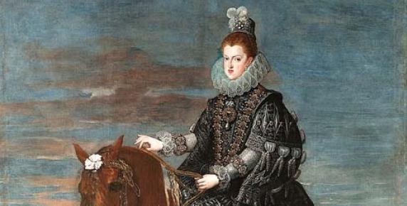 Portret królowej Małgorzaty Austriaczki na koniu (autorstwa Diega Velázqueza, 1634-35, wym. 297 x 309 cm, olej na płótnie) zdobił salę tronową pałacu Buen Retiro (dziś wisi w Muzeum Prado w Madrycie)