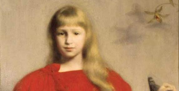 Portret dziewczynki w czerwonej sukience Józefa Pankiewicza, 1897 r., olej na płótnie, wym. 77 x 58 cm, Muzeum Narodowe w Kielcach