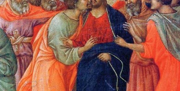 """""""Pocałunek Judasza"""", Duccio di Buoninsegna, szczegół z Maesty (nastawa ołtarzowa) z katedry w Sienie, Włochy, 1309-1311 r."""