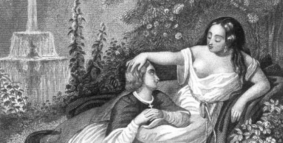"""Papież Jan XII wraz ze swoją matką w ogrodach Pałacu Laterańskiego w Rzymie, ilustracja z """"Histoire des Papes"""" (ok. 1840 r.)"""