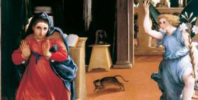 Lorenzo Lotto, zwiastowanie, Maryja, anioł, malarstwo, obraz, sztuka