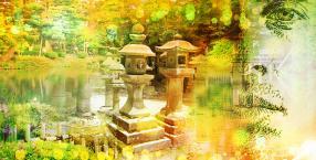 rośliny, kamienie, dom, ogród, Japonia, magiczne miejsce, zieleń