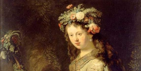 Po raz pierwszy Rembrandt maluje Saskię jako Florę w 1634 roku, kilka miesięcy po ślubie.