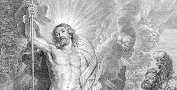 Zmartwychwstanie Chrystusa, rycina Bolswerta z obrazu Rubensa.