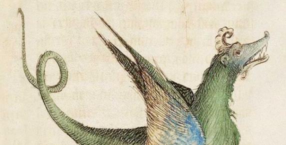 """Wizerunek smoka z """"Księgi kwiatów"""" – średniowiecznej encyklopedii z 1090-1120, autorstwa Lamberta, kanonika z Saint-Omer"""