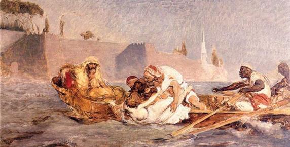 Druga, bardziej impresjonistyczna wersja ''Utopionej w Bosforze'' Jana Matejki z 1880 r. (Muzeum Narodowe we Wrocławiu)