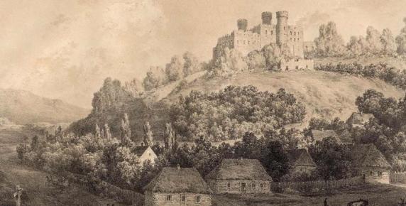 Zamek w Ogrodzieńcu na rycinie z XIX wieku. Już wtedy po warowni krążył czarny pies.